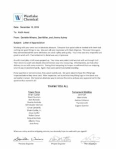 Westlake Chemical Appreciation Letter